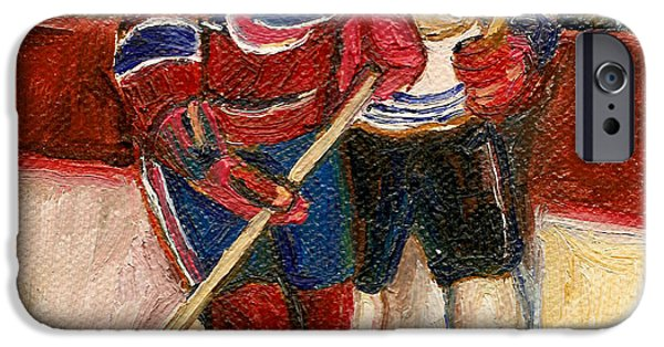 Afterschool Hockey Montreal Paintings iPhone Cases - Hockey Stars At The Forum iPhone Case by Carole Spandau