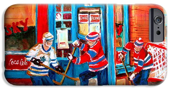 Carole Spandau Of Hockey Paintings iPhone Cases - Hockey Sticks In Action iPhone Case by Carole Spandau