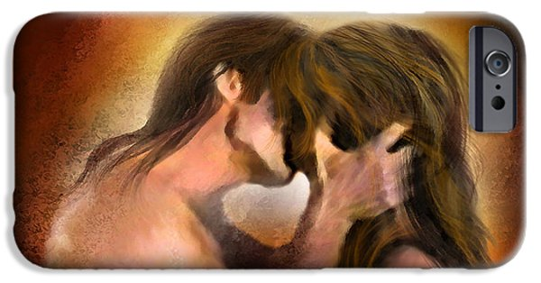 Posters On Mixed Media iPhone Cases - Hold On With A Kiss iPhone Case by Carol Cavalaris
