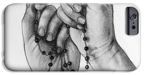 Religious Drawings iPhone Cases - Holding A Cross iPhone Case by Gabriela Junosova