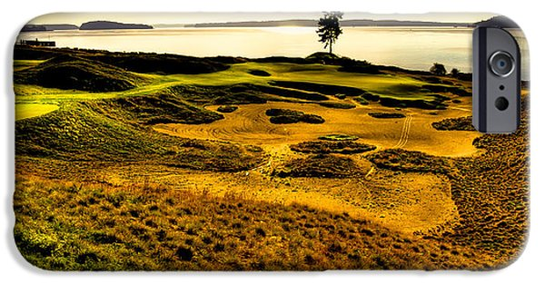 Us Open Photographs iPhone Cases - Hole #15 - The Lone Fir at Chambers Bay iPhone Case by David Patterson