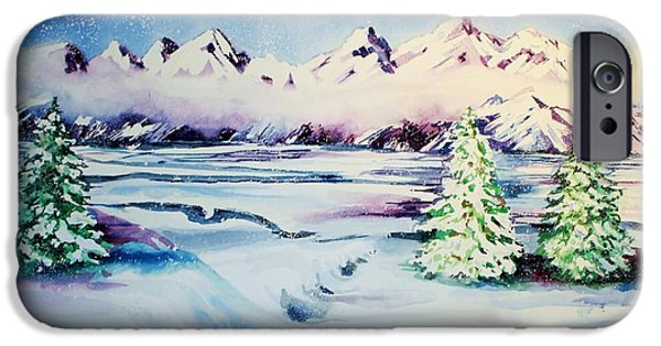Catherine White Paintings iPhone Cases - Holiday Snow iPhone Case by Catherine Bennett