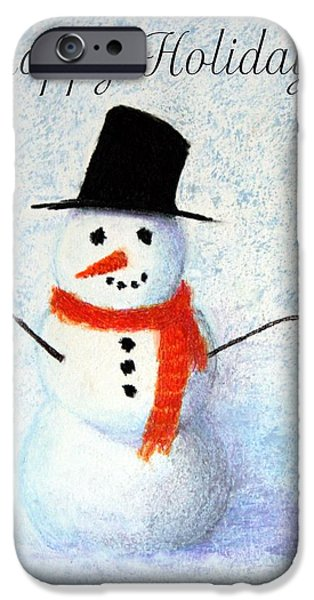 Christmas Greeting Pastels iPhone Cases - Holiday Snowman iPhone Case by Marna Edwards Flavell
