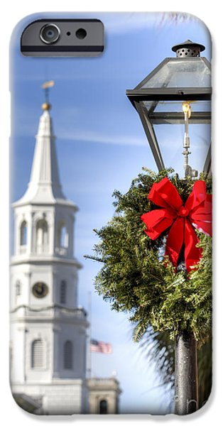 Wreath iPhone Cases - Holiday Wreath St Michaels Church Charleston SC iPhone Case by Dustin K Ryan