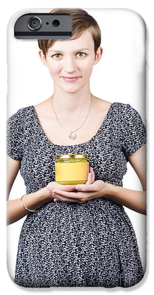 Holistic naturopath holding jar of homemade spread iPhone Case by Ryan Jorgensen