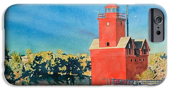 Chicago Paintings iPhone Cases - Holland Lighthouse - Big Red iPhone Case by LeAnne Sowa