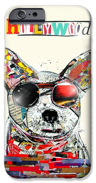 Canine Mixed Media iPhone Cases - Hollywood Chihuahua iPhone Case by Bri Buckley