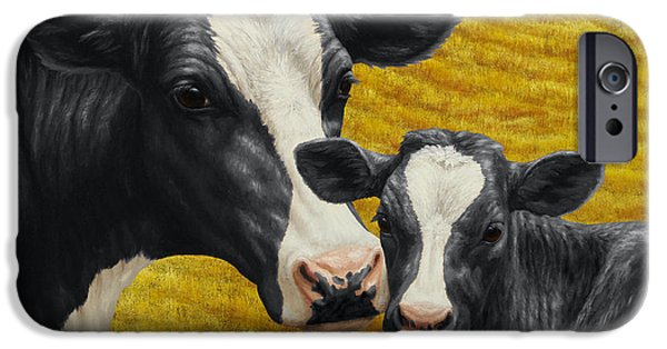 Old Barns iPhone Cases - Holstein Cow and Calf Farm iPhone Case by Crista Forest
