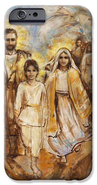 Young Paintings iPhone Cases - Holy Family Approaching Jerusalem iPhone Case by Terezia Sedlakova Wutzay
