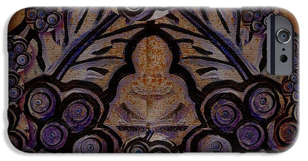 Contemplative Paintings iPhone Cases - Holy In Peace And Acryl iPhone Case by Pepita Selles