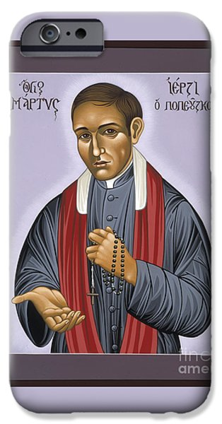 New Martyr iPhone Cases - Holy New Martyr Blessed Jerzy Popielusko 030 iPhone Case by William Hart McNichols