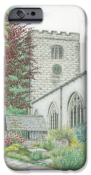 Facade Drawings iPhone Cases - Holy Trinity Church Clock Bolton le Sands Lancashire iPhone Case by Sandra Moore