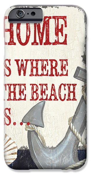 Sailboat Paintings iPhone Cases - Home is Where the Beach Is iPhone Case by Debbie DeWitt
