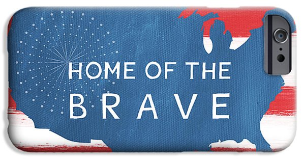 4th July Mixed Media iPhone Cases - Home Of The Brave iPhone Case by Linda Woods