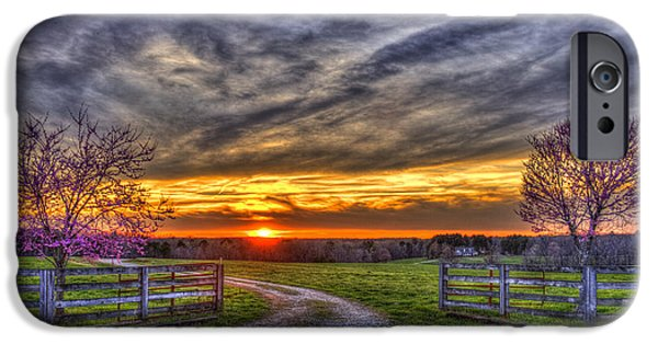 Pastureland iPhone Cases - Home Sweet Home Lick Skillet Road Sunset iPhone Case by Reid Callaway