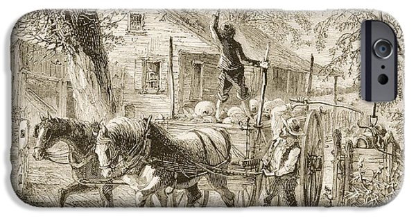Agriculture Drawings iPhone Cases - Homestead In Kansas In 1870s. From iPhone Case by Ken Welsh
