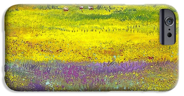 Field Pastels iPhone Cases - Homestead in the Valley iPhone Case by David Patterson