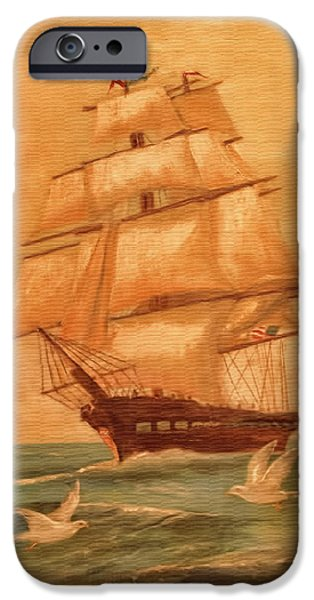 Pirate Ship iPhone Cases - Homeward Bound iPhone Case by John Welling