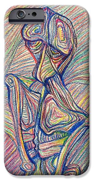 Brain Paintings iPhone Cases - Homme oiseau iPhone Case by Taylan Soyturk
