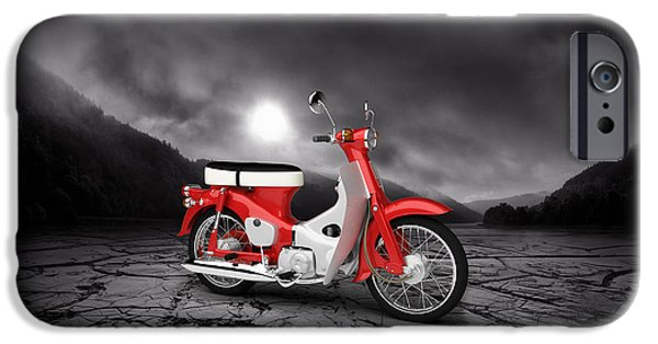 Honda iPhone Cases - Honda C50 Cub 1967  Mountains iPhone Case by Aged Pixel