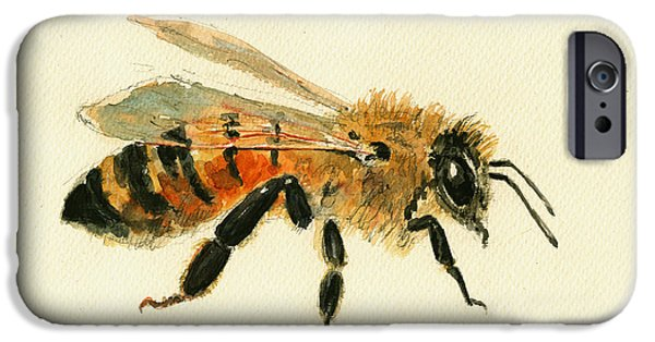 Insect iPhone Cases - Honey Bee painting iPhone Case by Juan  Bosco