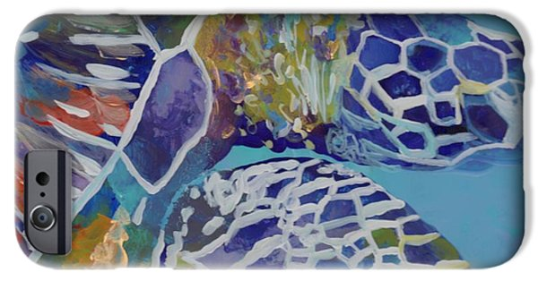Ocean Turtle Paintings iPhone Cases - Honu iPhone Case by Marionette Taboniar