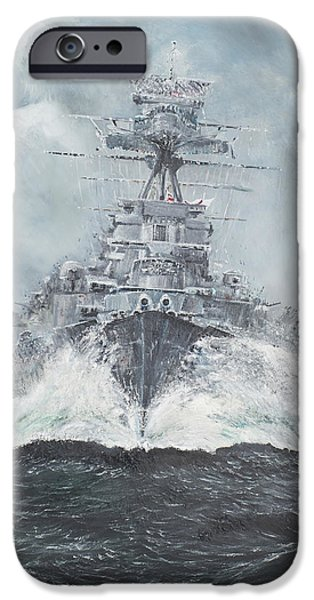 Warship iPhone Cases - Hood heads for Bismarck iPhone Case by Vincent Alexander Booth