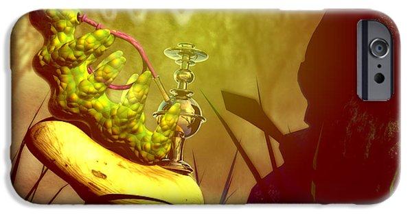 Alice In Wonderland Digital iPhone Cases - Hookah Smoking Caterpillar iPhone Case by Carol and Mike Werner