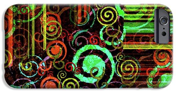 Modern Abstract Digital Art Digital Art Digital Art iPhone Cases - Hoopla iPhone Case by Bonnie Bruno
