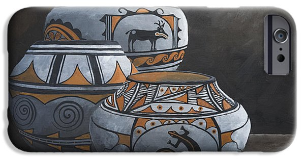 Hopi iPhone Cases - Hopi Pots iPhone Case by Jerry McElroy