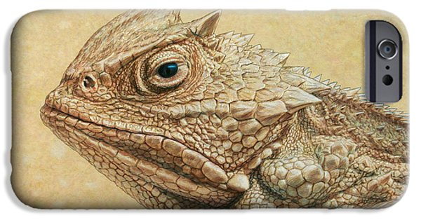 Animals Drawings iPhone Cases - Horned Toad iPhone Case by James W Johnson