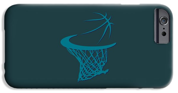 Charlotte iPhone Cases - Hornets Basketball Hoop iPhone Case by Joe Hamilton