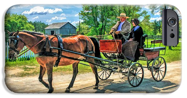Buggy iPhone Cases - Horse and Buggy at Old World Wisconsin iPhone Case by Christopher Arndt