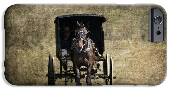 Old Country Roads Photographs iPhone Cases - Horse and Buggy iPhone Case by Tom Mc Nemar