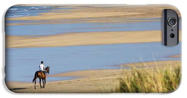 The Horse iPhone Cases - Horse And Rider On Beach With Grassy iPhone Case by Michael Interisano