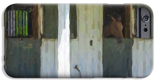 Equestrian Center iPhone Cases - Horse Barn iPhone Case by Dale Powell