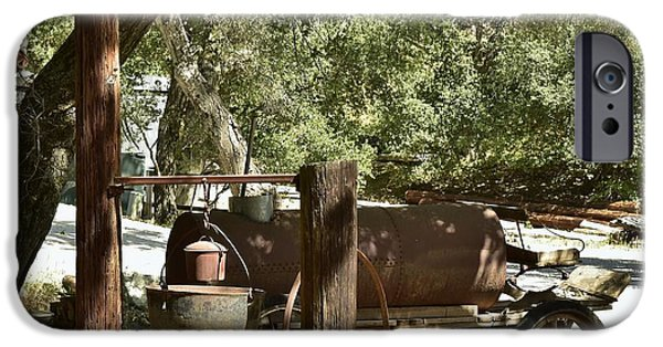 Old Cars iPhone Cases - Horse Drawn Oil Tank with Hanging Stove iPhone Case by Linda Brody