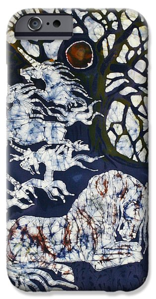 Textured Tapestries - Textiles iPhone Cases - Horse Dreaming Below Trees iPhone Case by Carol  Law Conklin