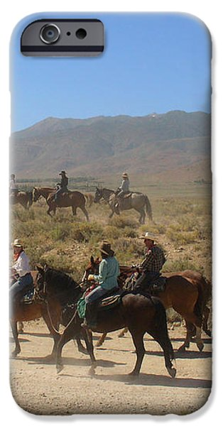 Horse Drive from June Lake to Bishop California iPhone Case by Christine Till