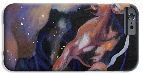 Constellations iPhone Cases - Horse in Stars iPhone Case by Laura Ungs