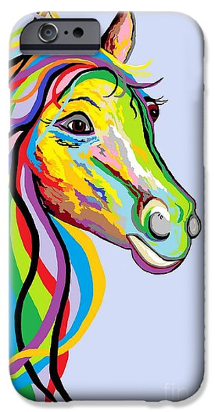 Surrealism Digital iPhone Cases - Horse of a Different Color iPhone Case by Eloise Schneider