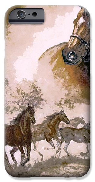 The Horse iPhone Cases - Horse Painting A dream of running wild iPhone Case by Gina Femrite