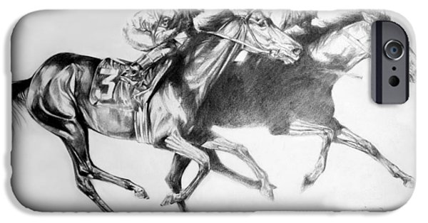 Horse Racing Drawings iPhone Cases - Horse Race iPhone Case by Derrick Higgins
