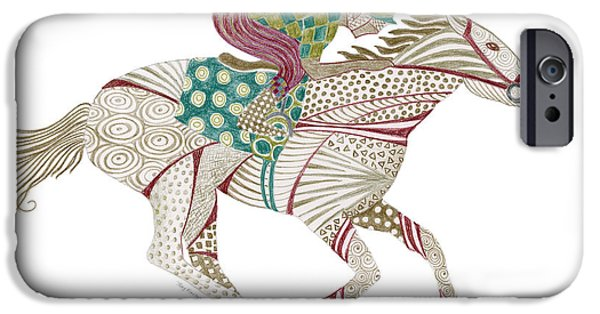 Colored Pencil Abstract iPhone Cases - Horse Racer iPhone Case by Amy Kirkpatrick