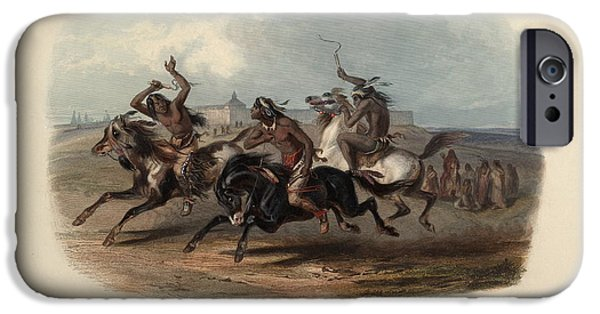 Horse Racing iPhone Cases - Horse Racing of Sioux Indians near Fort Pierre iPhone Case by Celestial Images