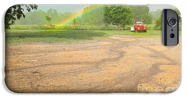 Rain Tapestries - Textiles iPhone Cases - Horse Rainbow iPhone Case by James Hennis
