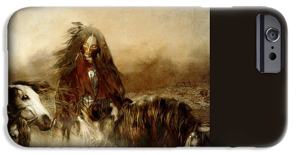 Society iPhone Cases - Horse Spirit Guides iPhone Case by Shanina Conway