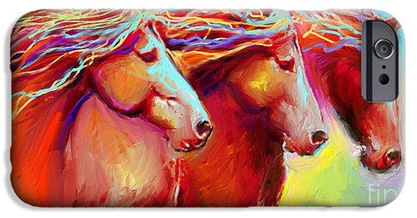Horses Digital Art iPhone Cases - Horse Stampede painting iPhone Case by Svetlana Novikova