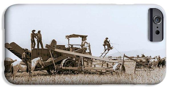 Combine Harvester iPhone Cases - HORSE-TEAM COMBINE HARVESTER - VAN NUYS CALIFORNIA - c. 1899 iPhone Case by Daniel Hagerman