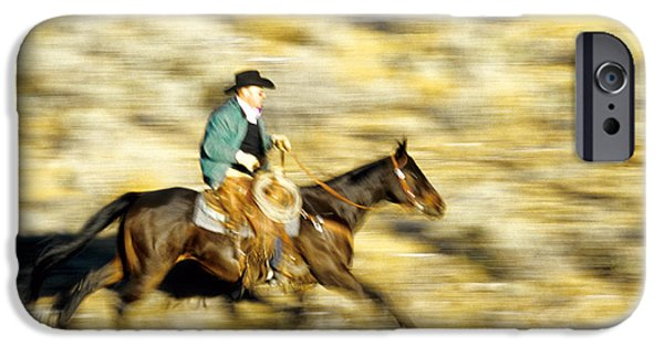 Working Cowboy Photographs iPhone Cases - Horseback Rider iPhone Case by Inga Spence